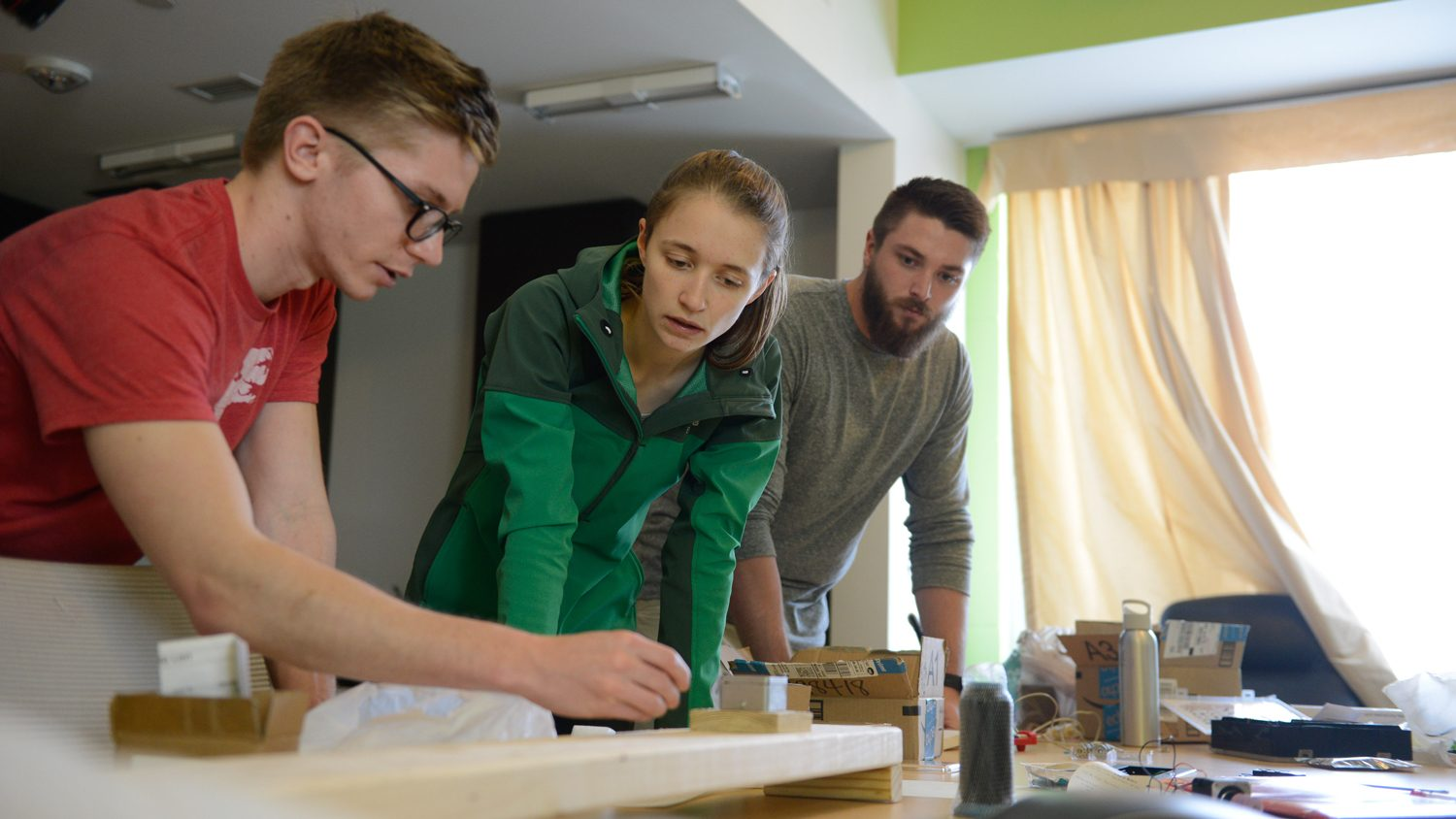 NC State students work in the Albright Entrepreneurs Village.