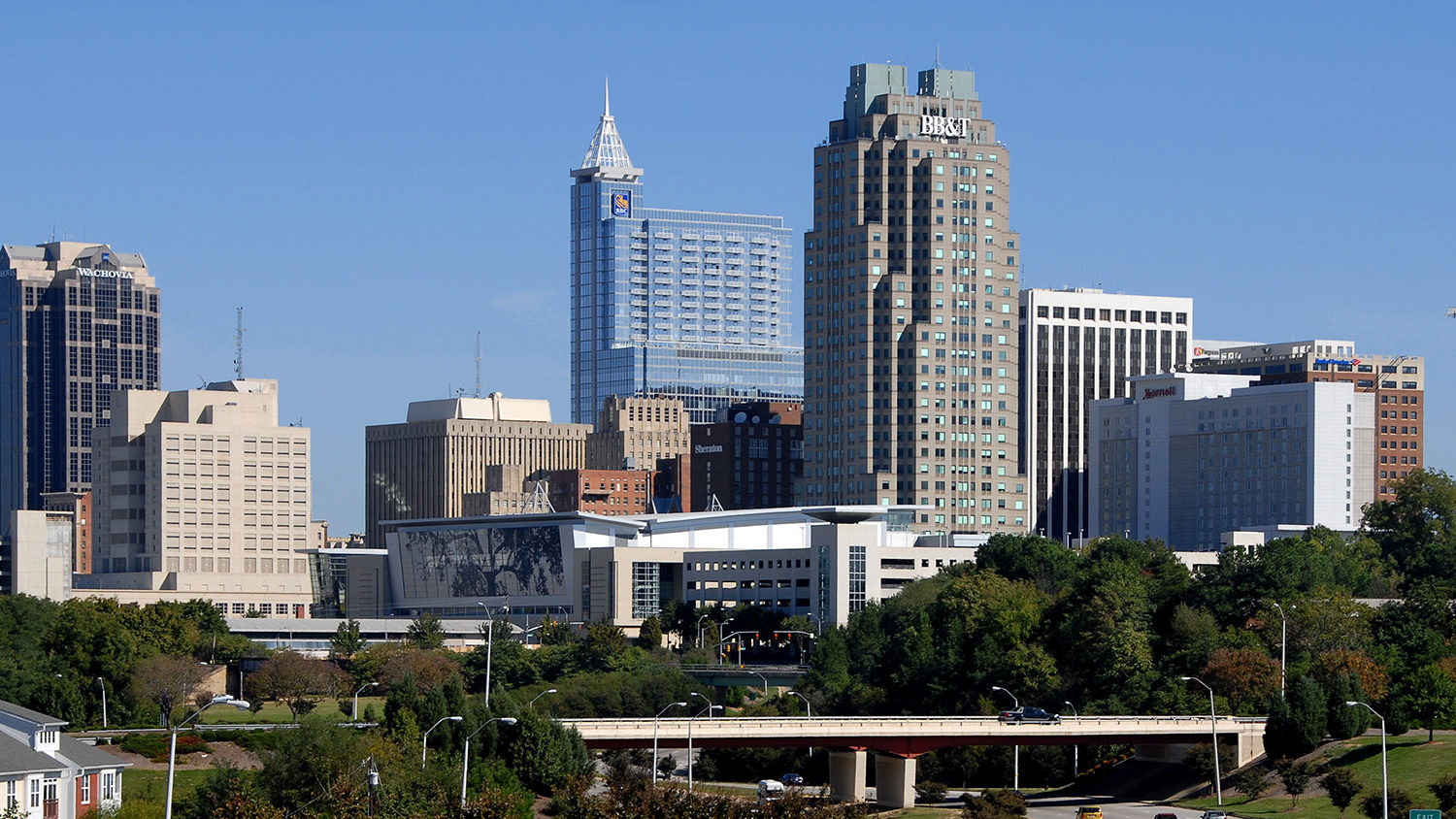 Downtown Raleigh skyline on a bright day