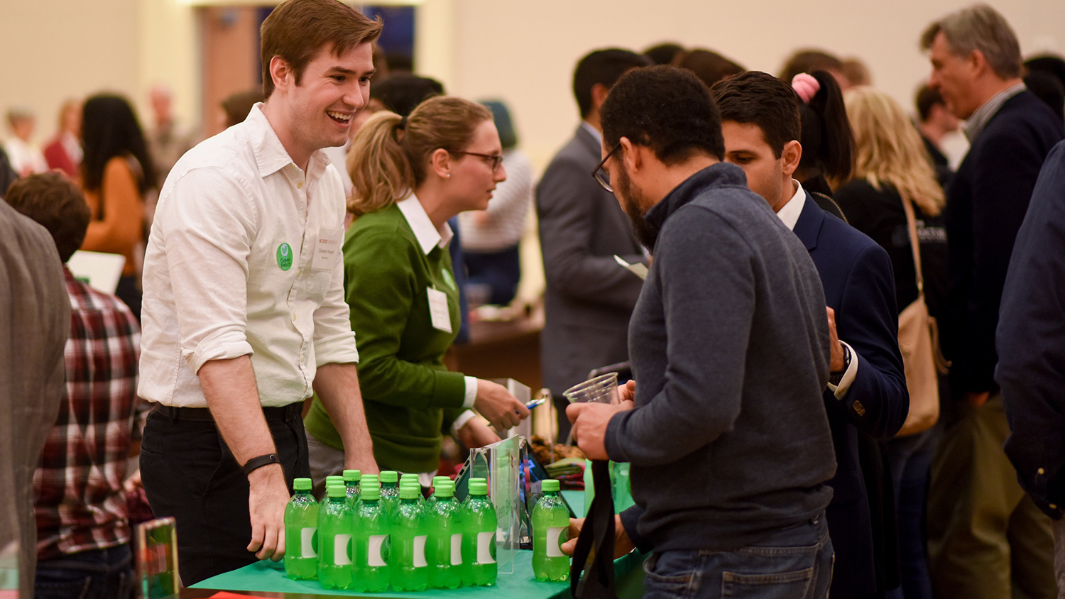 Student entrepreneurs discuss their ventures at the Expo, part of the Lulu eGames.