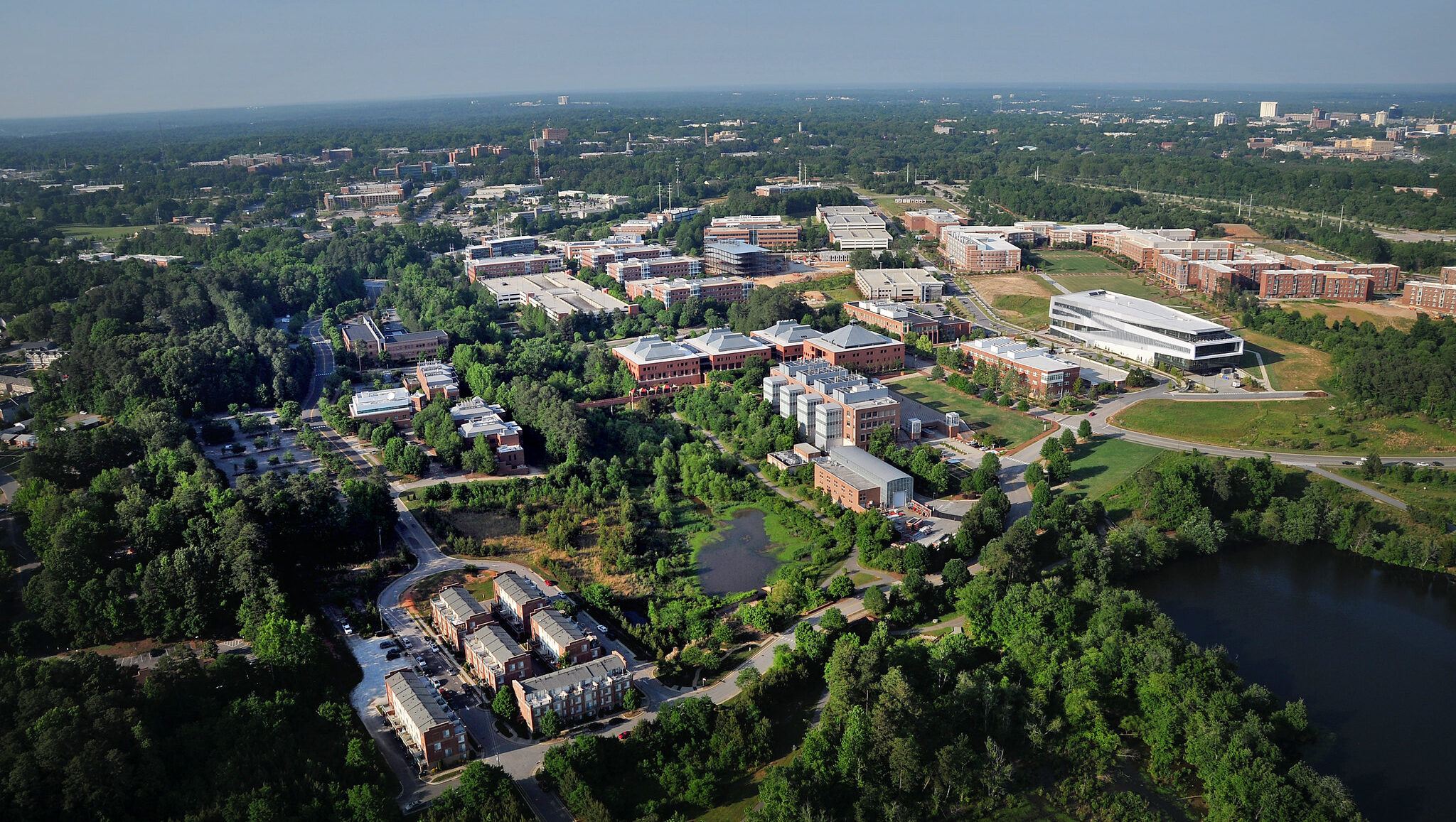 Aerial view of NC State campus