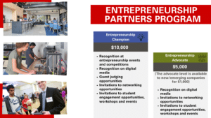Partners Program pdf. There are two levels of paticiaption. Entrepreneurship Champion at $10,000 and Entrepreneurship advocate at $5,000 or $1,000 for emerging companies.