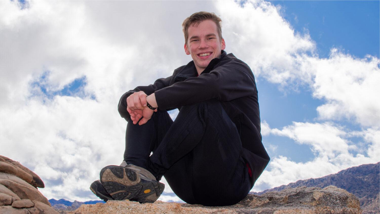 Josh Guter sitting at Joshua Tree National Park