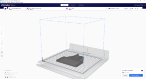 View of the Ultimaker Cura software before printing a model
