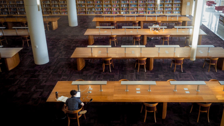 Student working in Hunt Library
