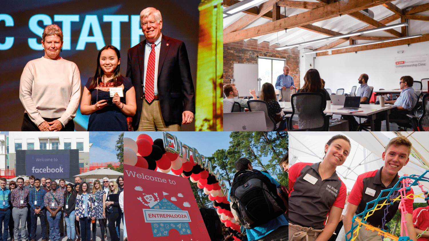 Collage of photos from previous NC State Entrepreneurship events and programs