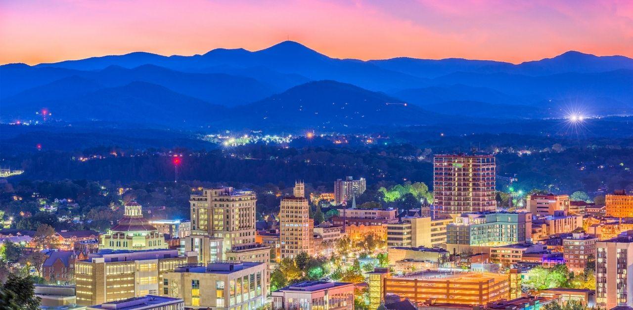 A beautiful dusk skyline of Asheville North Carolina